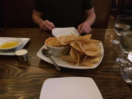 The dip was very soupy, essentially dipping chips into buffalo sauce. Which was culinarily exciting as it sounds. I guess one can't expect much when they order buffalo dip.