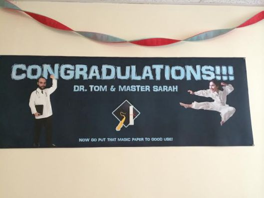 We had a party at our apartment and also honored a friend who was graduating as well. Again, if you can date anybody, date a graphic designer, because he will photoshop your head onto a karate master. That is all.